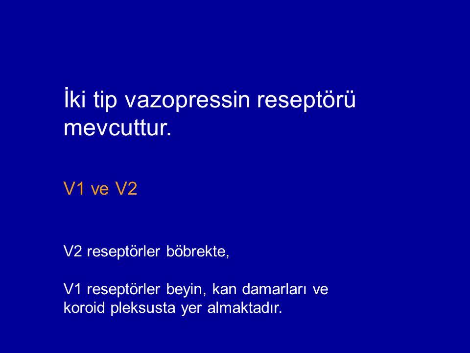 İki tip vazopressin reseptörü mevcuttur.