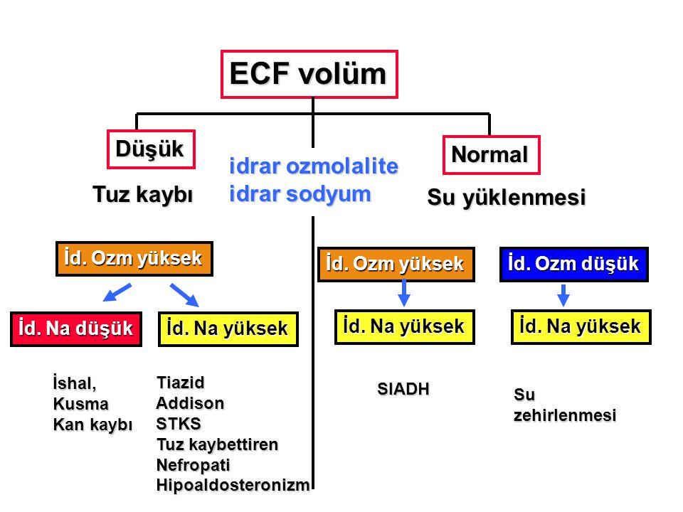 ECF volüm Düşük Normal idrar ozmolalite idrar sodyum Tuz kaybı