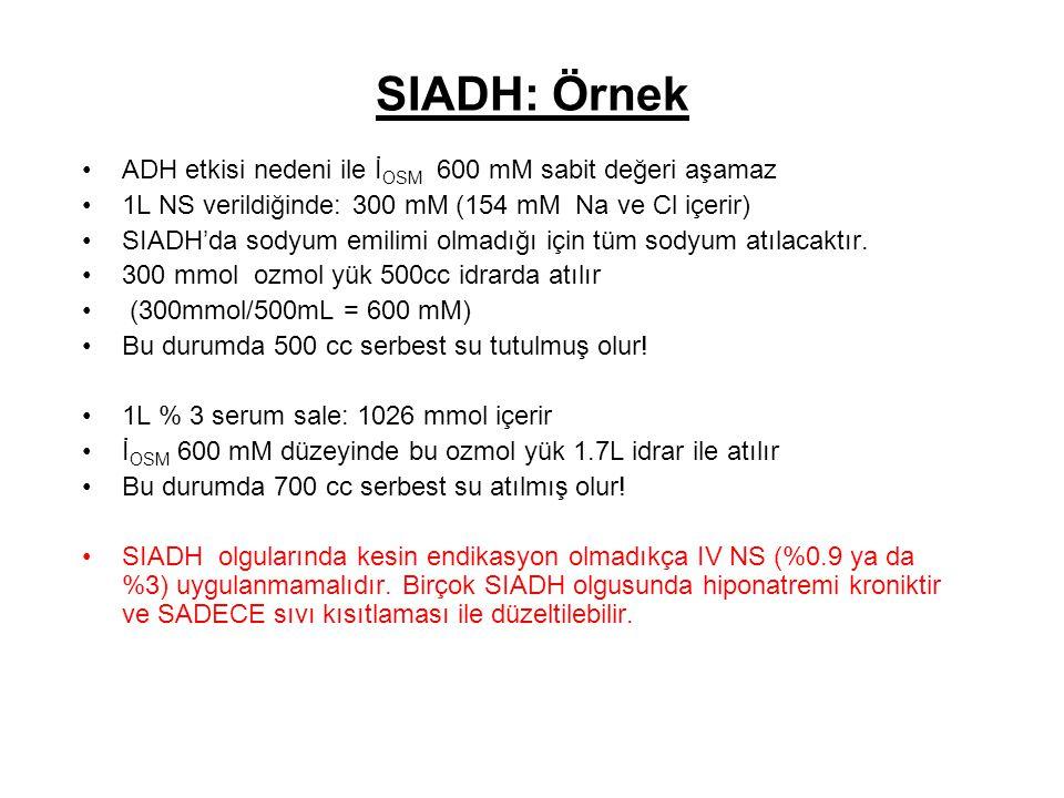 SIADH: Örnek ADH etkisi nedeni ile İOSM 600 mM sabit değeri aşamaz