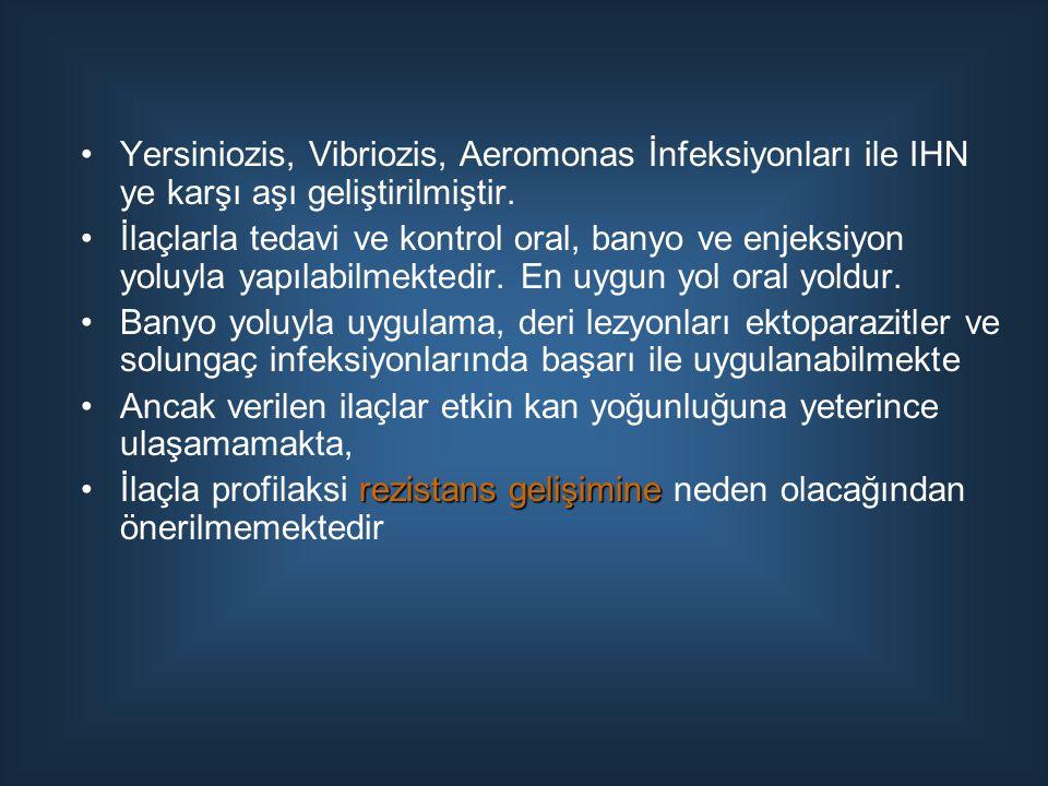 Yersiniozis, Vibriozis, Aeromonas İnfeksiyonları ile IHN ye karşı aşı geliştirilmiştir.