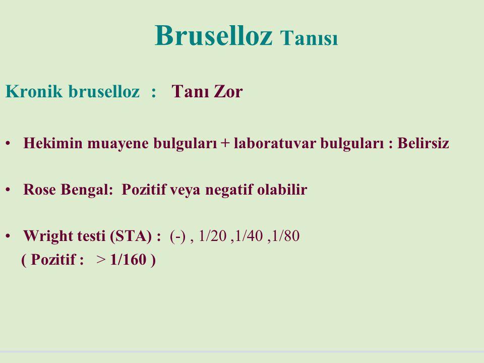 Bruselloz Tanısı Kronik bruselloz : Tanı Zor