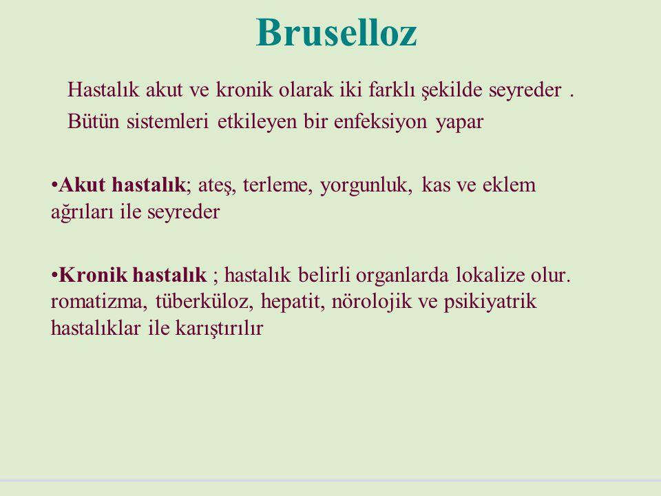 Bruselloz Hastalık akut ve kronik olarak iki farklı şekilde seyreder .