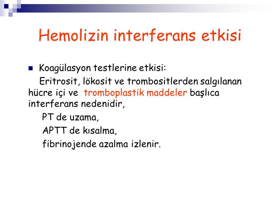 Hemolizin interferans etkisi