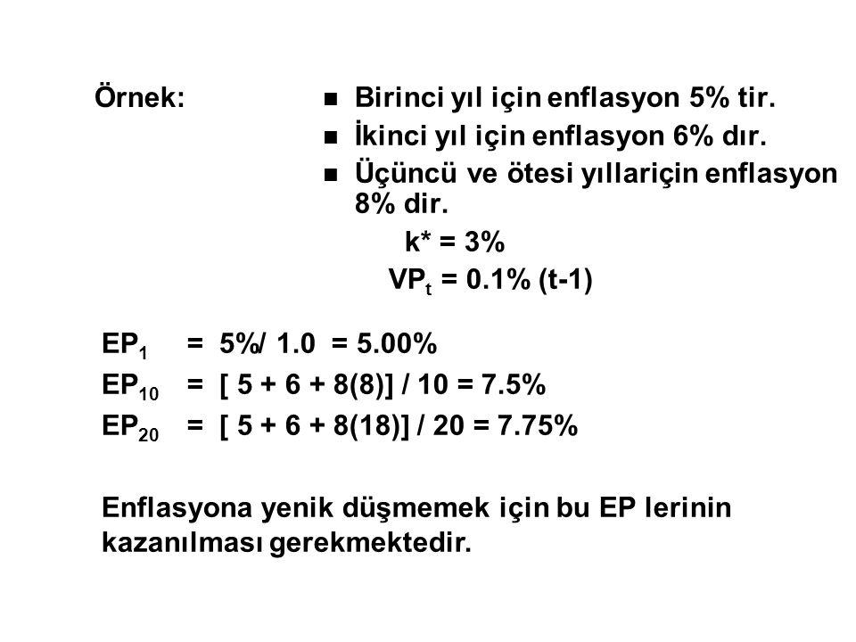 Örnek: Birinci yıl için enflasyon 5% tir. İkinci yıl için enflasyon 6% dır. Üçüncü ve ötesi yıllariçin enflasyon 8% dir.