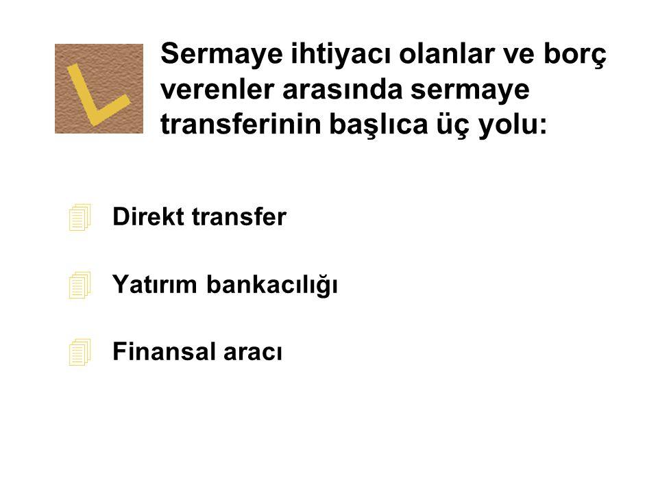 Sermaye ihtiyacı olanlar ve borç verenler arasında sermaye transferinin başlıca üç yolu: