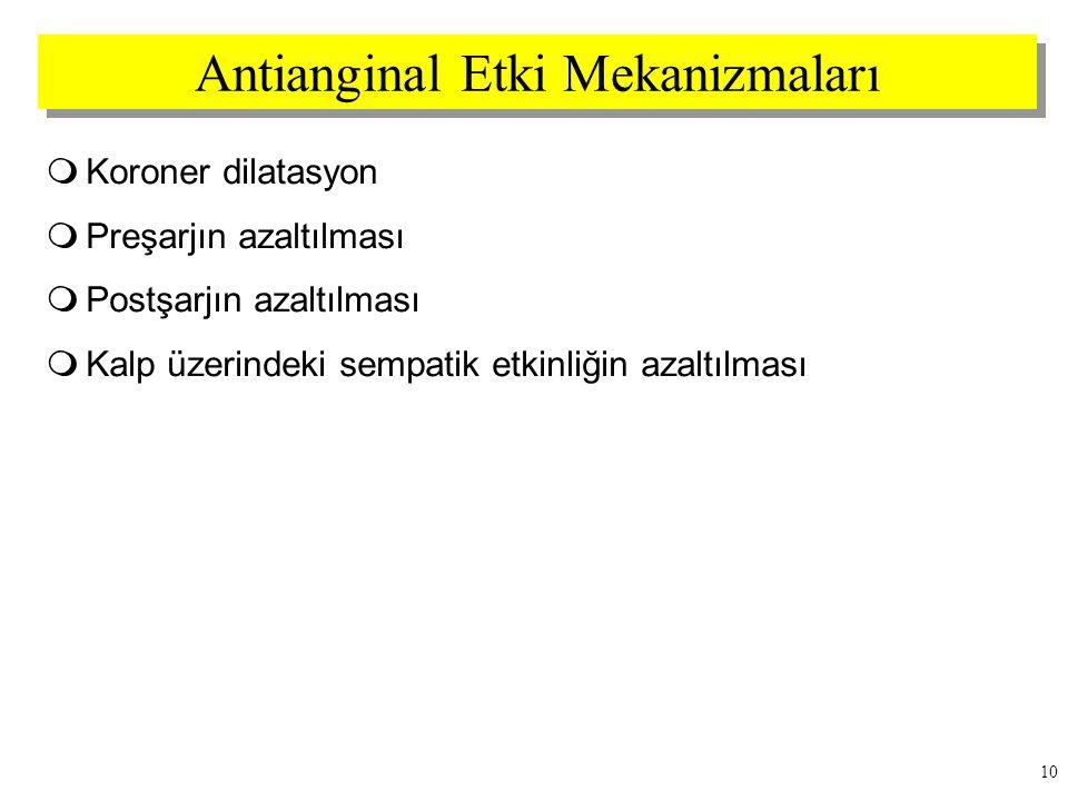 Antianginal Etki Mekanizmaları