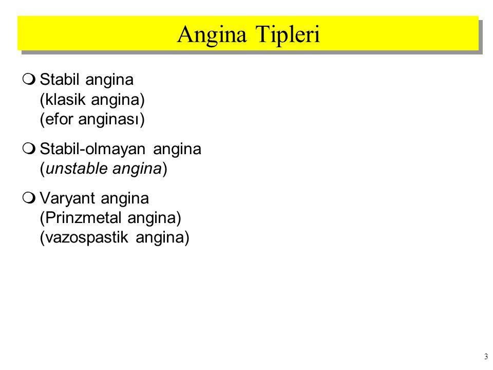Angina Tipleri Stabil angina (klasik angina) (efor anginası)