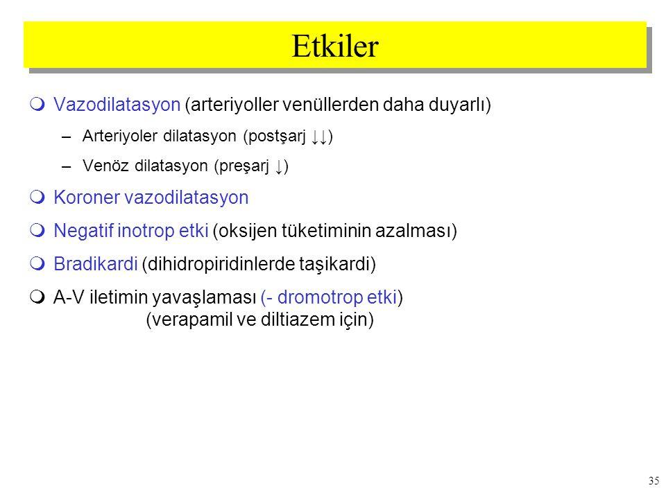 Etkiler Vazodilatasyon (arteriyoller venüllerden daha duyarlı)