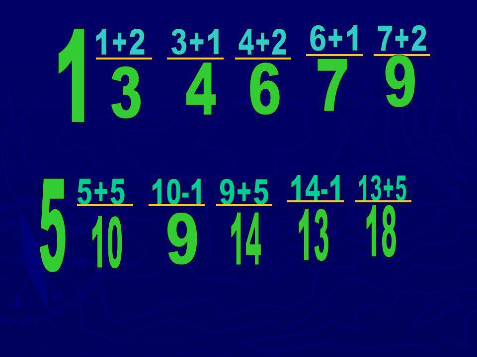 6+1 7+2 1 1+2 3+1 4+2 9 7 4 6 3 14-1 13+5 5 5+5 10-1 9+5 18 13 9 14 10