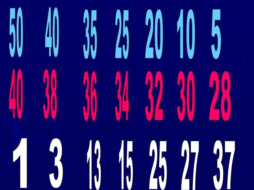 50 40 35 25 20 10 5 40 38 36 34 32 30 28 1 3 13 15 25 27 37