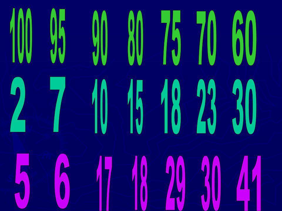 100 95 90 80 75 70 60 2 7 10 15 18 23 30 5 6 17 18 29 30 41