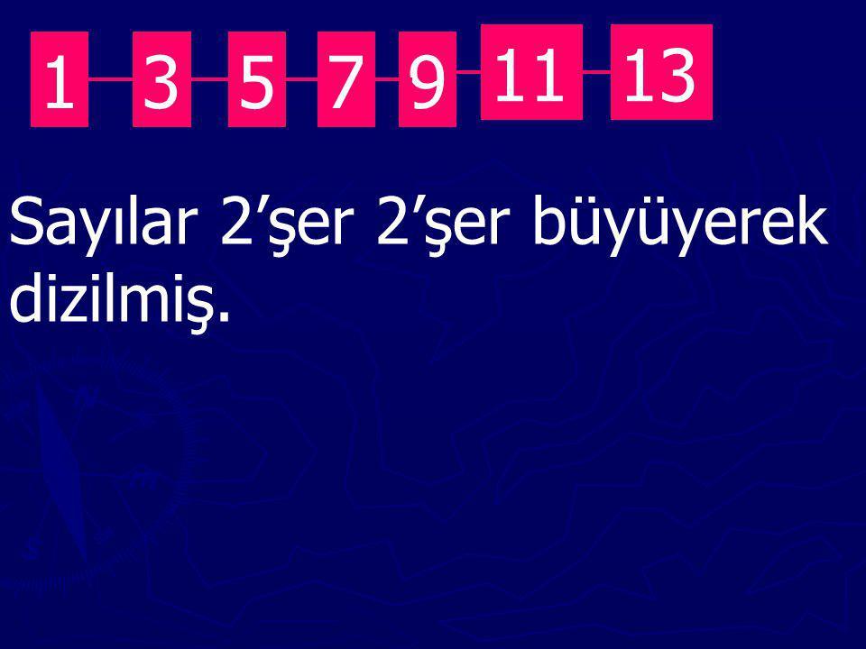 11 13 1 3 5 7 9 Sayılar 2'şer 2'şer büyüyerek dizilmiş.
