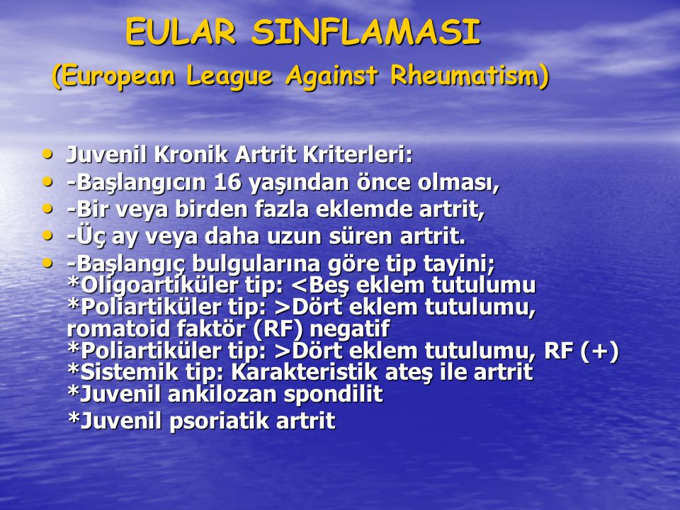EULAR SINFLAMASI (European League Against Rheumatism)