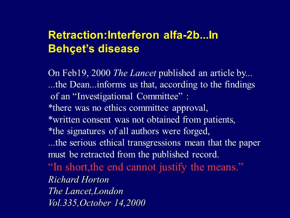 Retraction:Interferon alfa-2b...In Behçet's disease