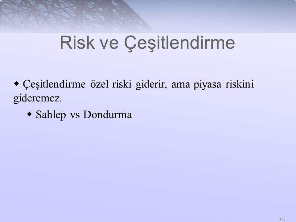 Risk ve Çeşitlendirme Çeşitlendirme özel riski giderir, ama piyasa riskini gideremez. Sahlep vs Dondurma.