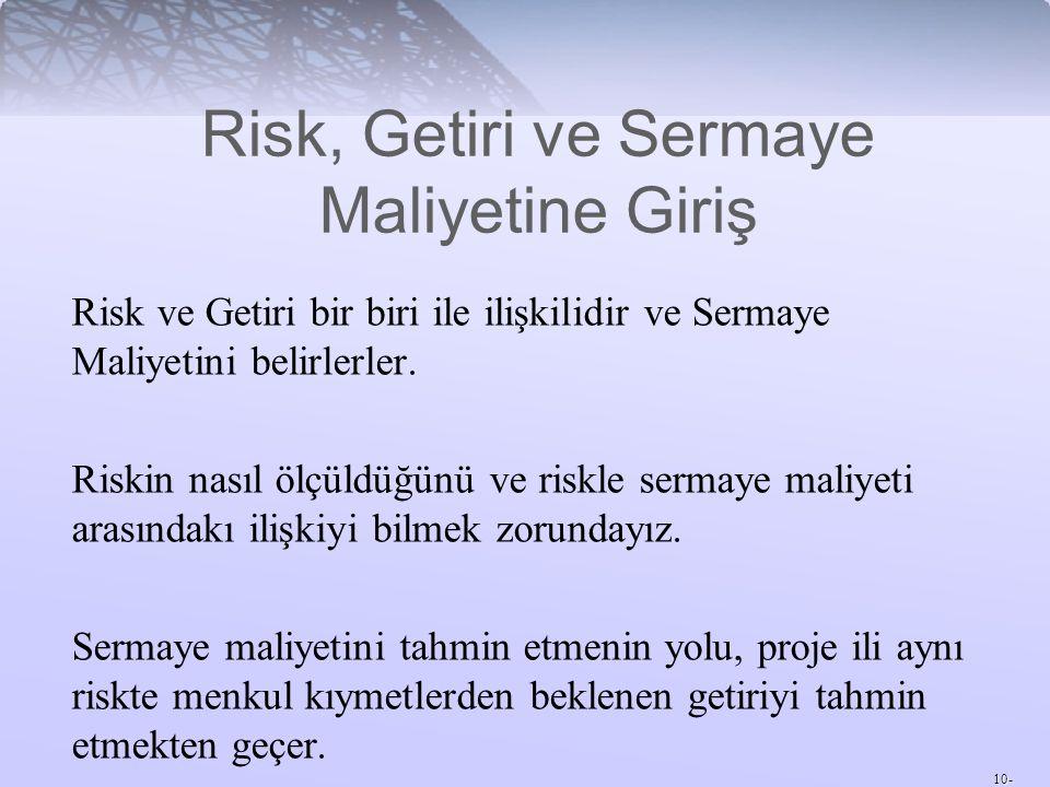 Risk, Getiri ve Sermaye Maliyetine Giriş