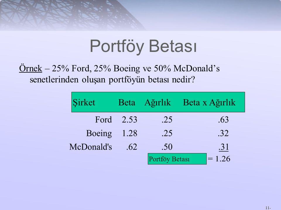 Portföy Betası Örnek – 25% Ford, 25% Boeing ve 50% McDonald's senetlerinden oluşan portföyün betası nedir