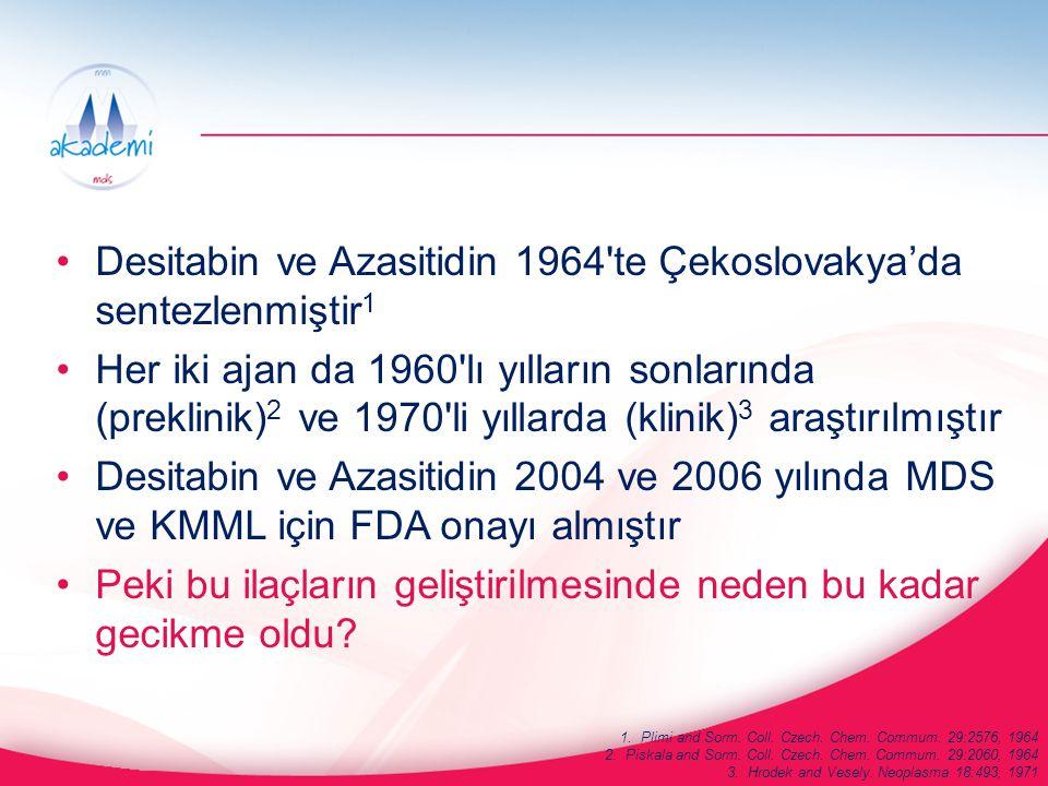 Desitabin ve Azasitidin 1964 te Çekoslovakya'da sentezlenmiştir1