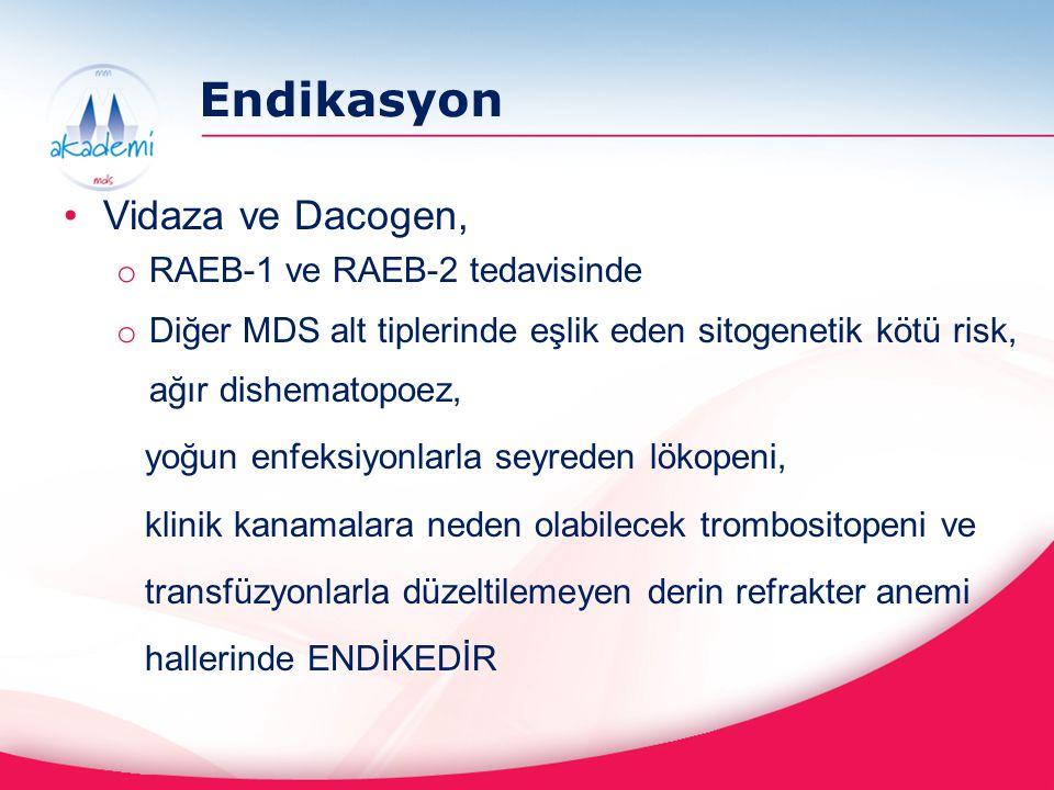Endikasyon Vidaza ve Dacogen, RAEB-1 ve RAEB-2 tedavisinde