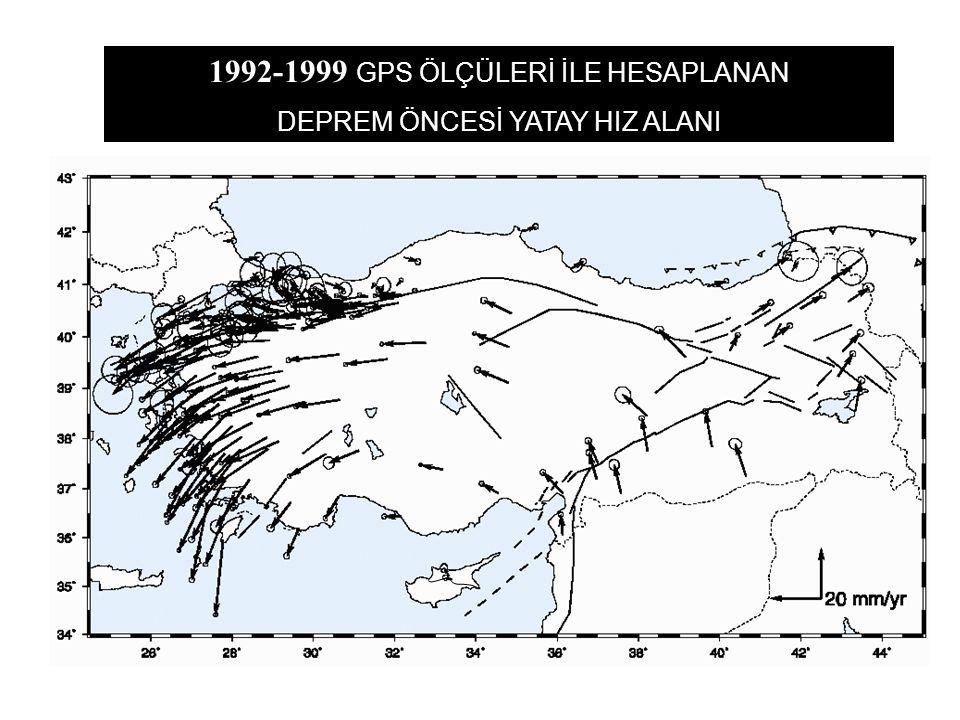 1992-1999 GPS ÖLÇÜLERİ İLE HESAPLANAN