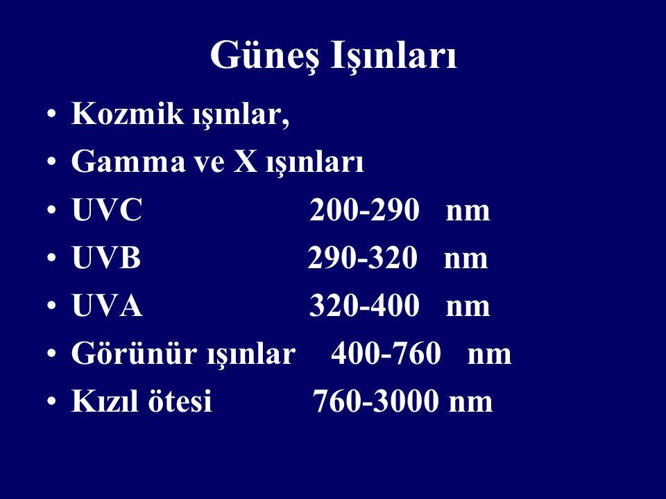 Güneş Işınları Kozmik ışınlar, Gamma ve X ışınları UVC 200-290 nm
