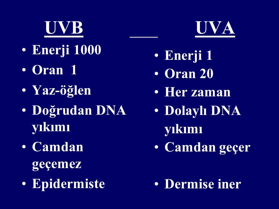 UVB ___ UVA Enerji 1000 Enerji 1 Oran 1 Oran 20 Yaz-öğlen Her zaman