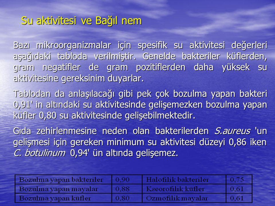 Su aktivitesi ve Bağıl nem