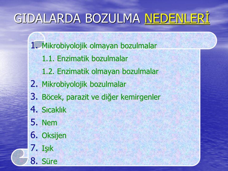GIDALARDA BOZULMA NEDENLERİ