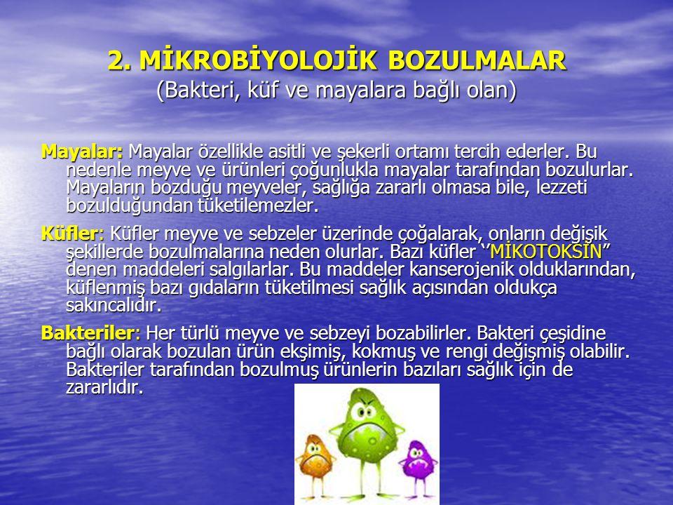 2. MİKROBİYOLOJİK BOZULMALAR (Bakteri, küf ve mayalara bağlı olan)