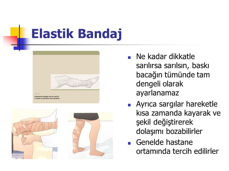 Elastik Bandaj Ne kadar dikkatle sarılırsa sarılsın, baskı bacağın tümünde tam dengeli olarak ayarlanamaz.