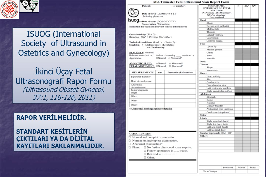 İkinci Üçay Fetal Ultrasonografi Rapor Formu