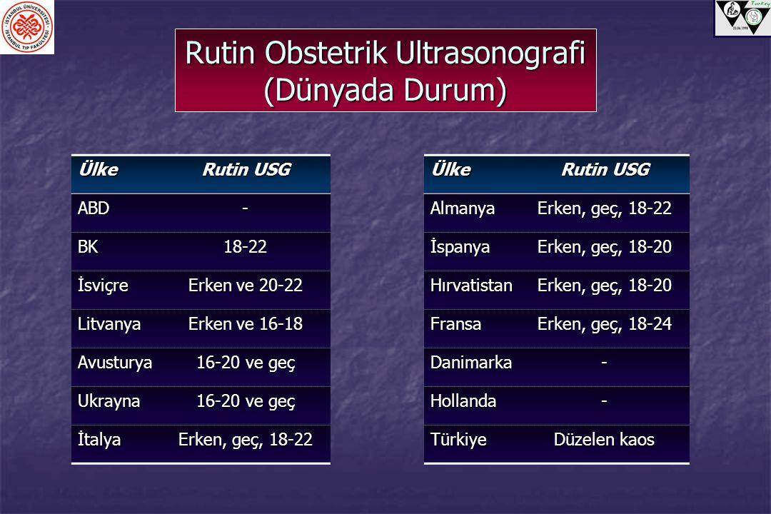 Rutin Obstetrik Ultrasonografi (Dünyada Durum)