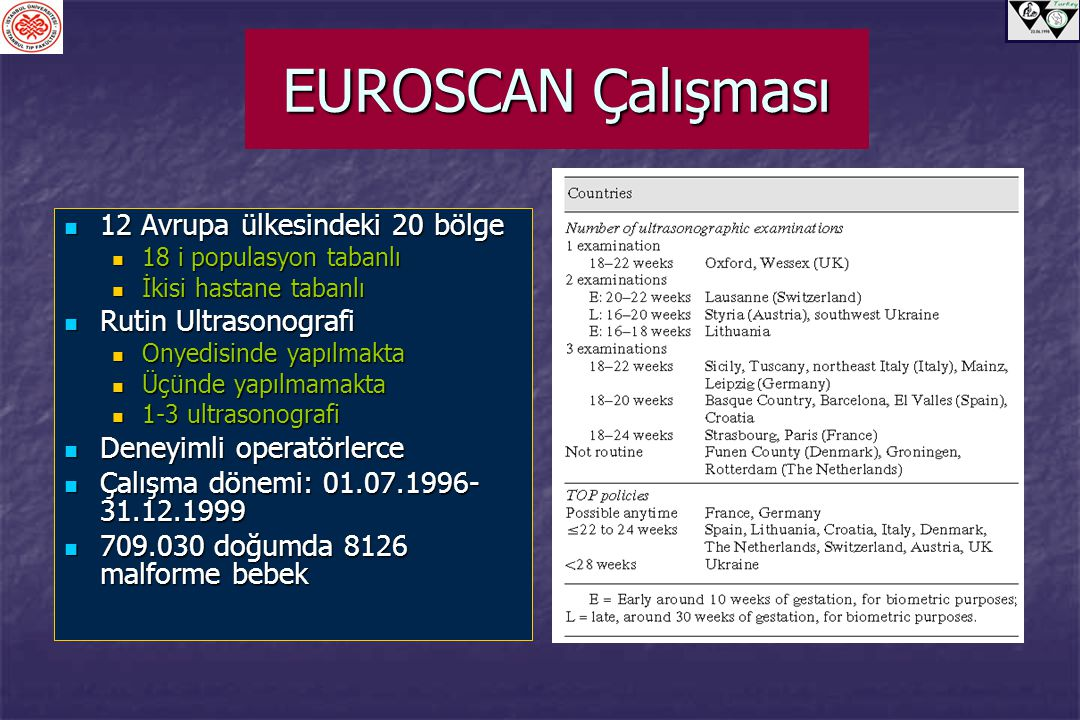 EUROSCAN Çalışması 12 Avrupa ülkesindeki 20 bölge Rutin Ultrasonografi
