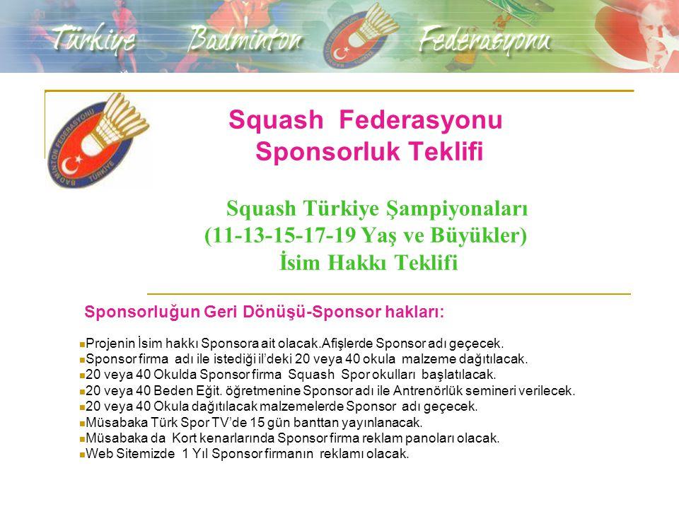 Squash Federasyonu Sponsorluk Teklifi Squash Türkiye Şampiyonaları (11-13-15-17-19 Yaş ve Büyükler) İsim Hakkı Teklifi