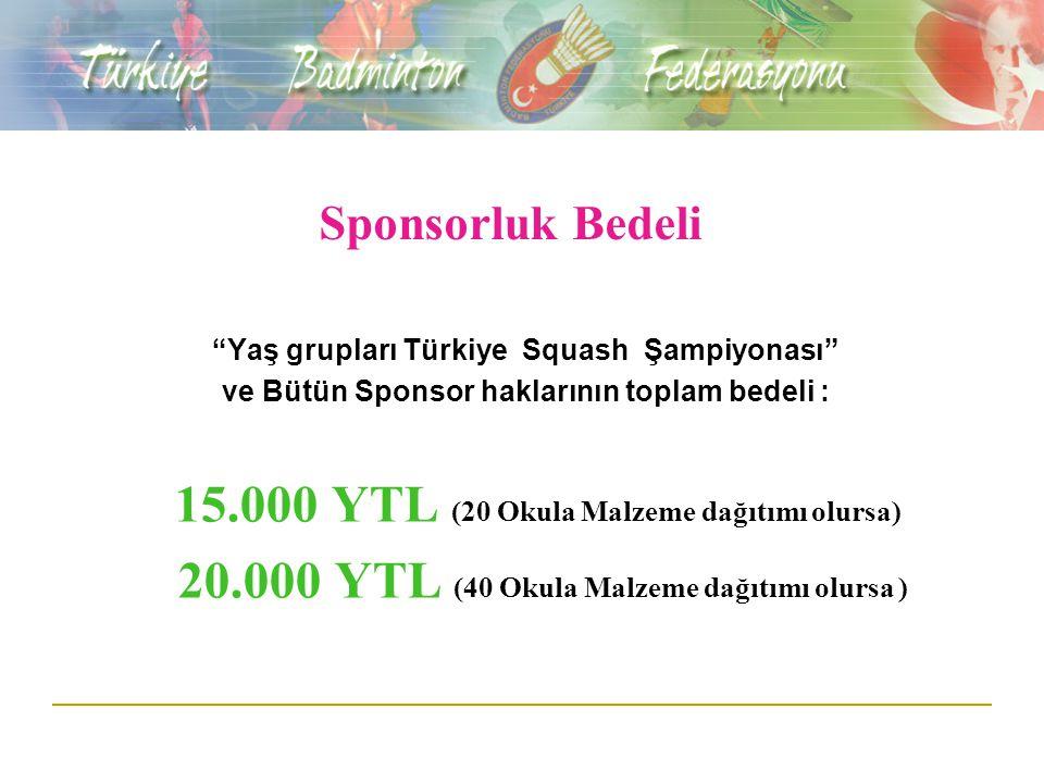 Sponsorluk Bedeli Yaş grupları Türkiye Squash Şampiyonası