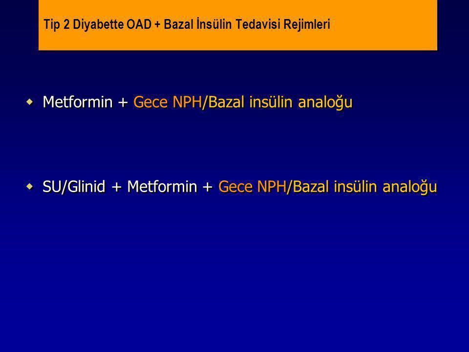 Tip 2 Diyabette OAD + Bazal İnsülin Tedavisi Rejimleri