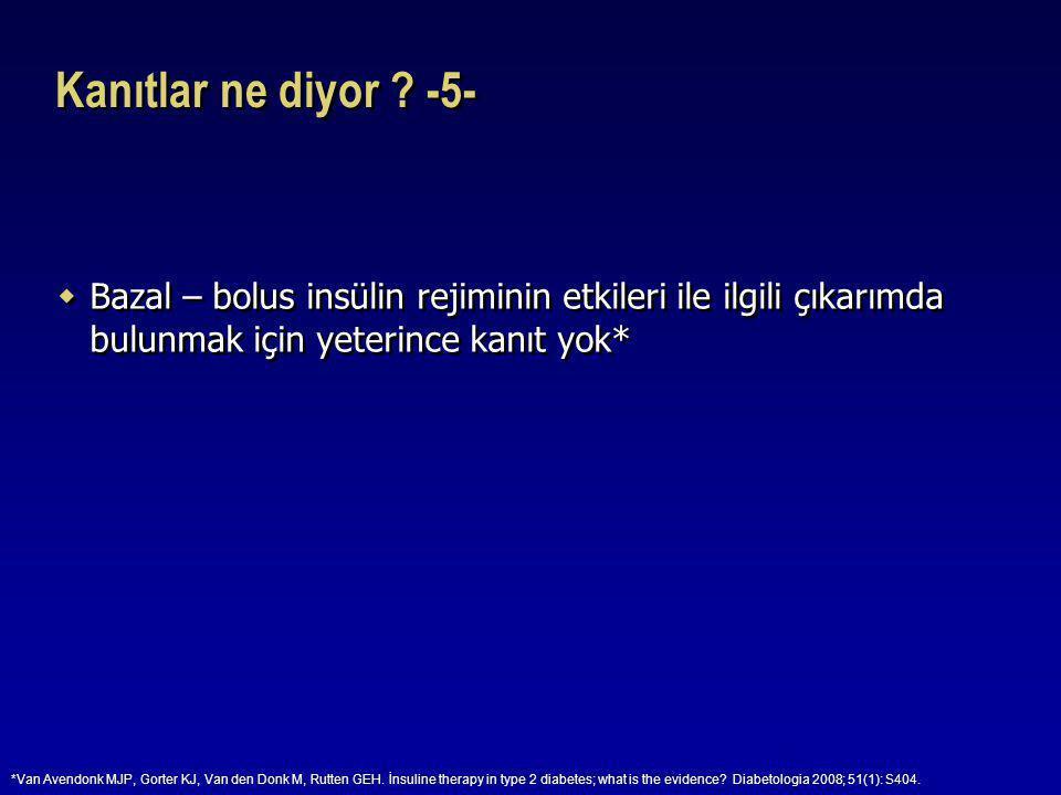 Kanıtlar ne diyor -5- Bazal – bolus insülin rejiminin etkileri ile ilgili çıkarımda bulunmak için yeterince kanıt yok*