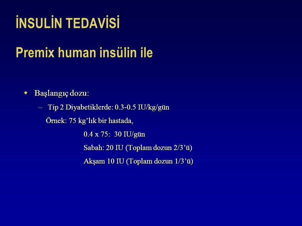 İNSULİN TEDAVİSİ Premix human insülin ile