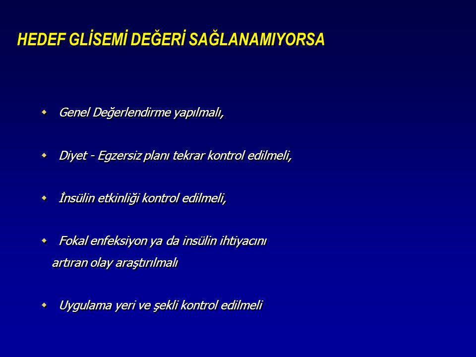 HEDEF GLİSEMİ DEĞERİ SAĞLANAMIYORSA