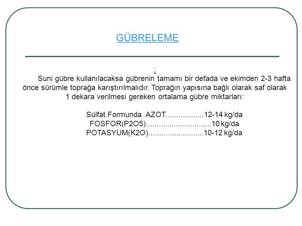 Sülfat Formunda AZOT..................12-14 kg/da