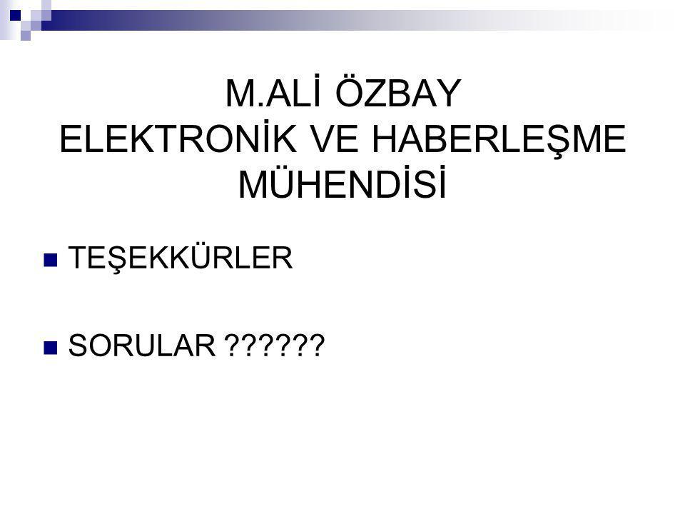 M.ALİ ÖZBAY ELEKTRONİK VE HABERLEŞME MÜHENDİSİ