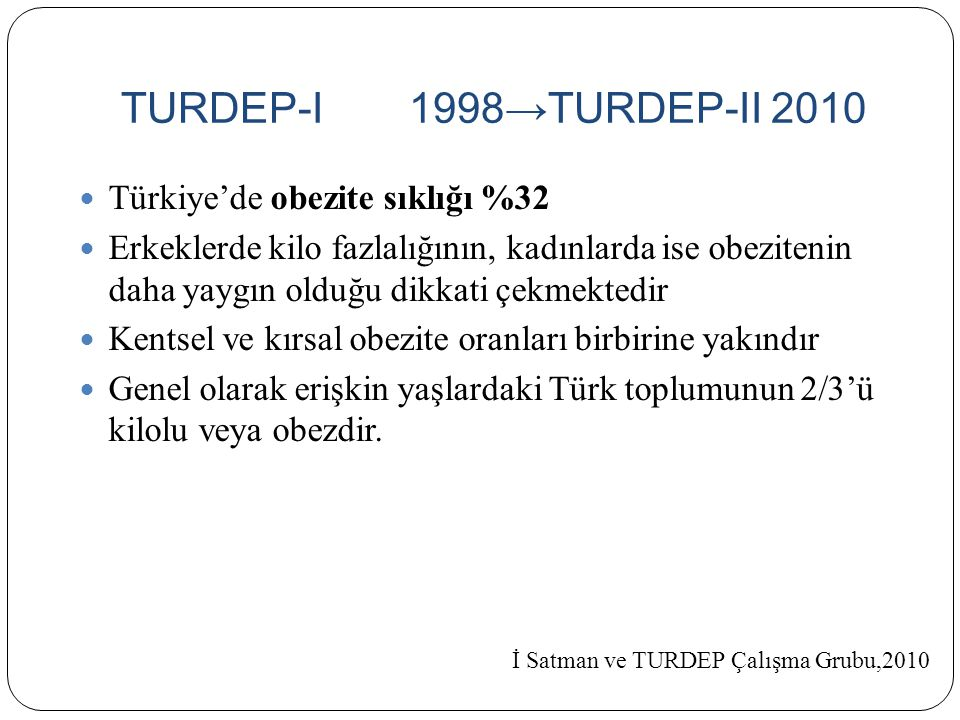 TURDEP-I 1998→TURDEP-II 2010 Türkiye'de obezite sıklığı %32