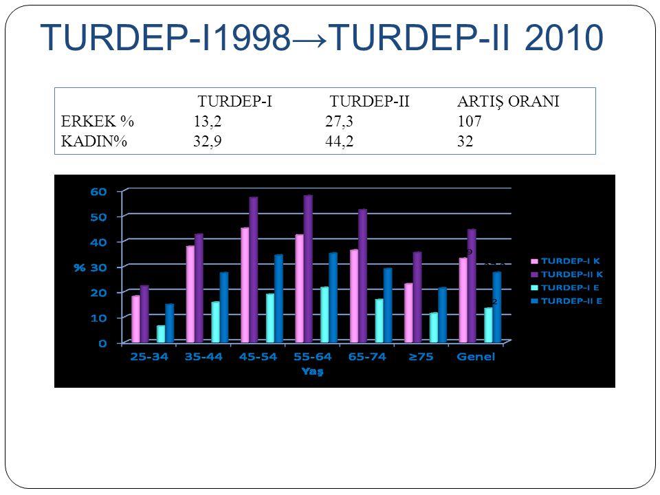 TURDEP-I1998→TURDEP-II 2010 TURDEP-I TURDEP-II ARTIŞ ORANI