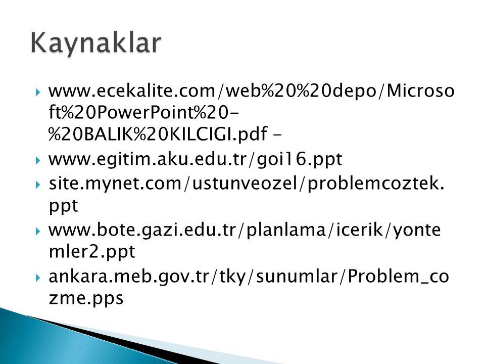 Kaynaklar www.ecekalite.com/web%20%20depo/Microso ft%20PowerPoint%20- %20BALIK%20KILCIGI.pdf - www.egitim.aku.edu.tr/goi16.ppt.