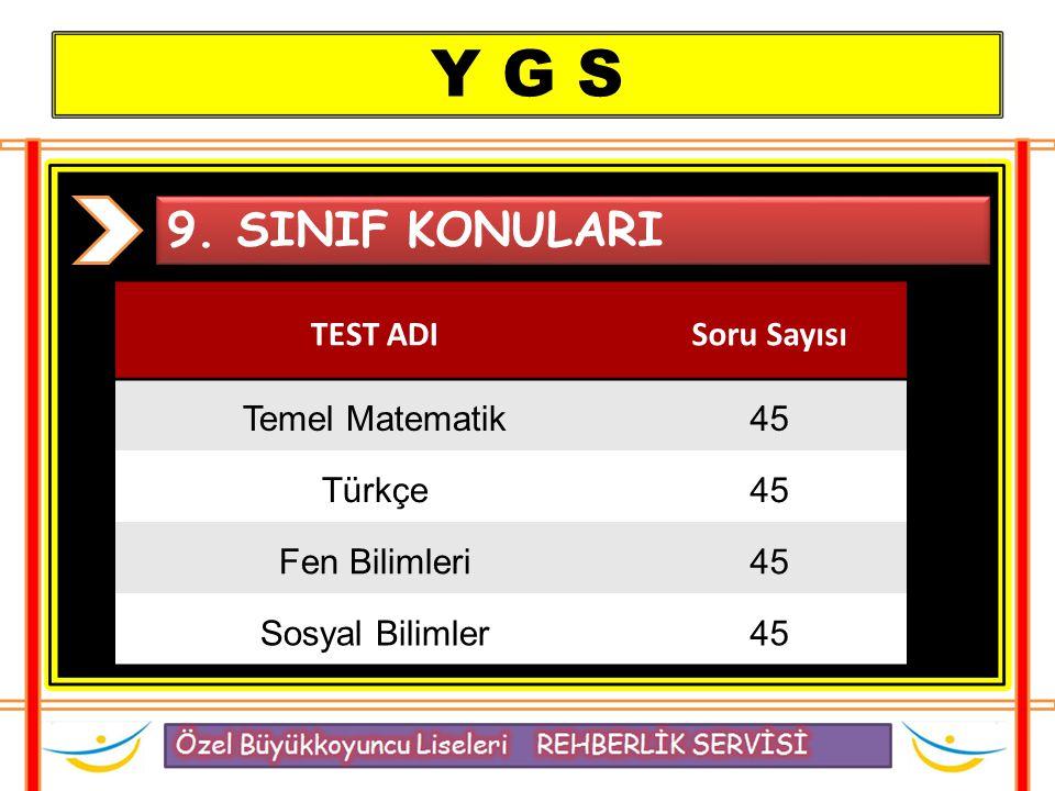 Y G S 9. SINIF KONULARI TEST ADI Soru Sayısı Temel Matematik 45 Türkçe
