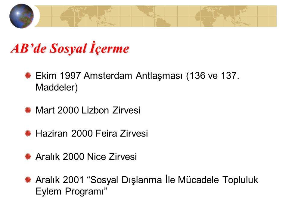 AB'de Sosyal İçerme Ekim 1997 Amsterdam Antlaşması (136 ve 137. Maddeler) Mart 2000 Lizbon Zirvesi.