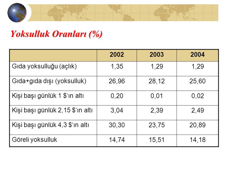 Yoksulluk Oranları (%)