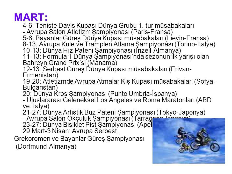 MART: 4-6: Teniste Davis Kupası Dünya Grubu 1