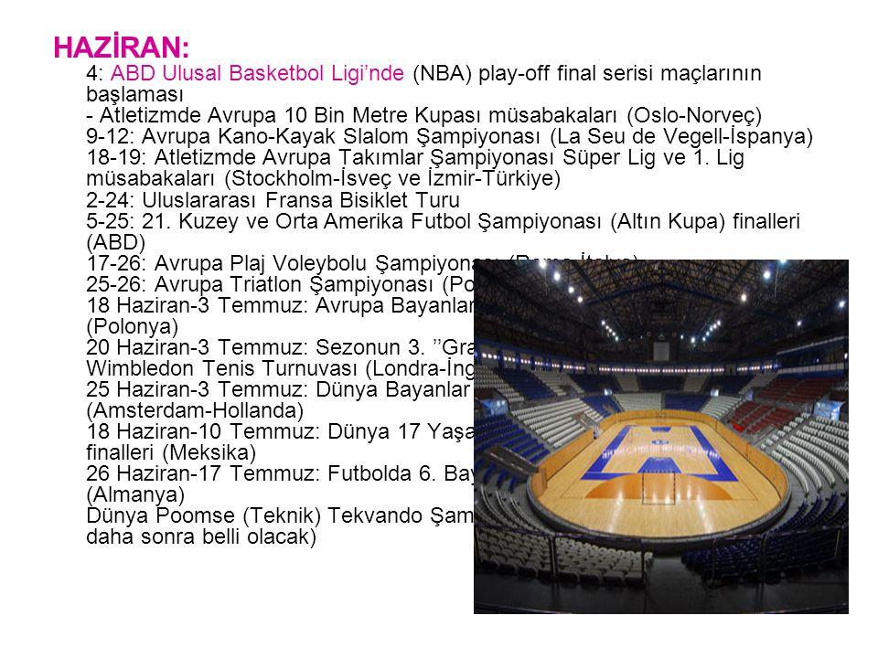 HAZİRAN: 4: ABD Ulusal Basketbol Ligi'nde (NBA) play-off final serisi maçlarının başlaması - Atletizmde Avrupa 10 Bin Metre Kupası müsabakaları (Oslo-Norveç) 9-12: Avrupa Kano-Kayak Slalom Şampiyonası (La Seu de Vegell-İspanya) 18-19: Atletizmde Avrupa Takımlar Şampiyonası Süper Lig ve 1.