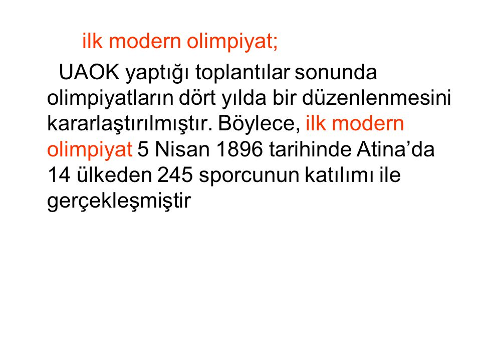 ilk modern olimpiyat;